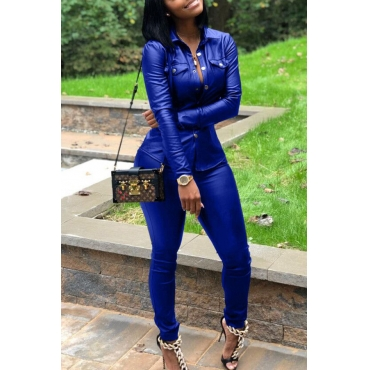 Lovely Street Turndown Collar Buttons Design Royal Blue Two-piece Pants Set