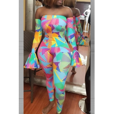 Lovely Casual Dew Shoulder Printed Multicolor One-piece Jumpsuit