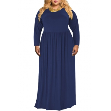 Lovely Casual O Neck Loose Dark Blue Floor Length Plus Size Dress