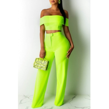 Lovely Trendy Off The Shoulder Green Two-piece Pants Set