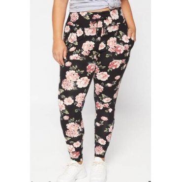 Lovely Casual Floral Printed Black Plus Size Pants