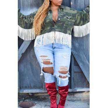 Lovely Casual Turndown Collar Tassel Design Army Green Plus Size Jacket