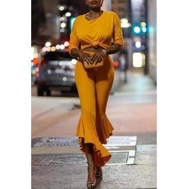 Lovely Street Flounce Design Croci Two-piece Pants Set