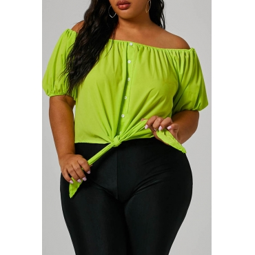 Lovely Trendy Buttons Decorative Green Plus Size Blouse