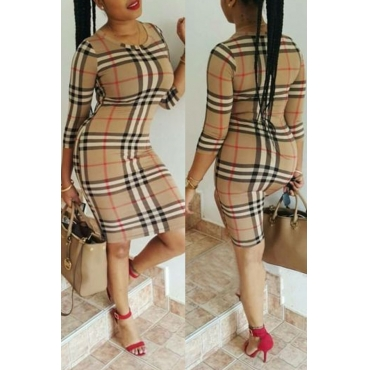 Lovely Casual Plaid Printed Khaki Knee Length Dress