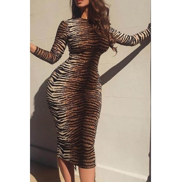 Lovely Chic Leopard Printed Knee Length Dress