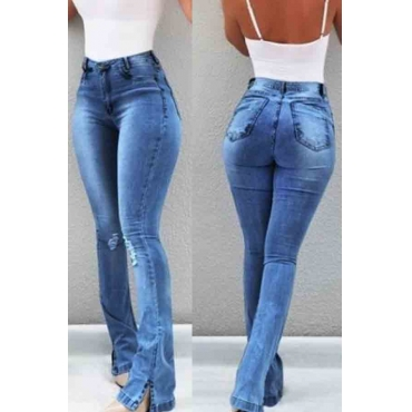 Lovely Trendy Skinny Slit Royal Blue Jeans