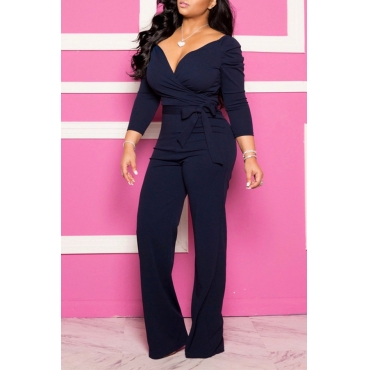 Lovely Casual V Neck Lace-up Dark Blue Plus Size One-piece Jumpsuit