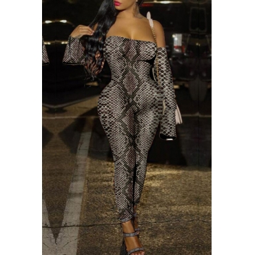Lovely Sexy Snakeskin Printed One-piece Jumpsuit