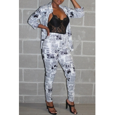 Lovely Trendy Turndown Collar Letter Printed White Two-piece Pants Set