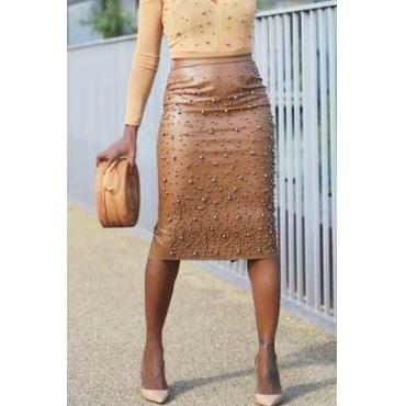 Lovely Work Nail Bead Design Brown Knee Length Sheath Skirt