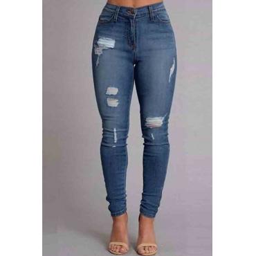 Lovely Trendy Broken Holes Skinny Blue Jeans
