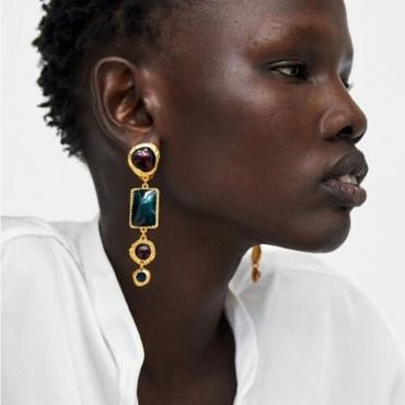 Lovely Trendy Rhinestone Decorative Gold Earring