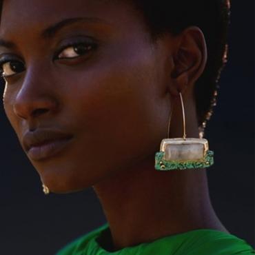 Lovely Trendy Patchwork Green Earring
