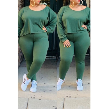 Lovely Casual O Neck Asymmetrical Green Plus Size Two-Piece Pants Set