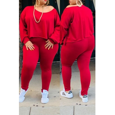 Lovely Casual O Neck Asymmetrical Red Plus Size Two-Piece Pants Set