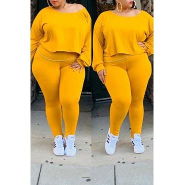 Lovely Casual O Neck Asymmetrical Yellow Plus Size Two-Piece Pants Set