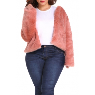 Lovely Casual Light Pink Plus Size Coat