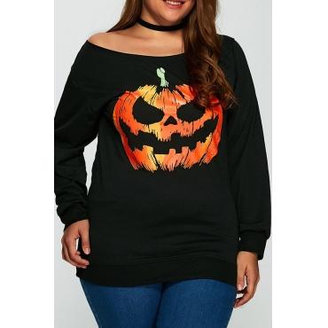 Lovely Casual Pumpkin Printed Black Plus Size Hoodie