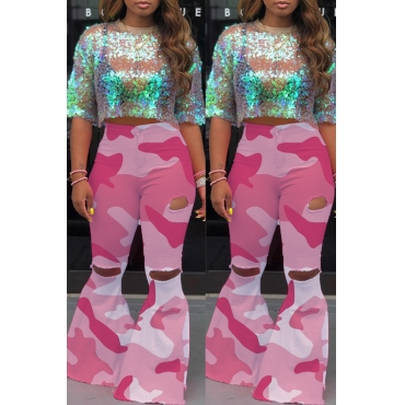 Lovely Casual Printed Pink Jeans