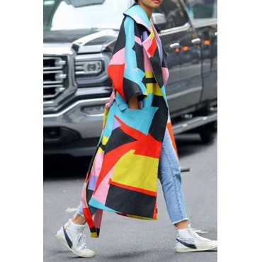 Lovely Casual Color-lump Patchwork Multicolor Trench Coat