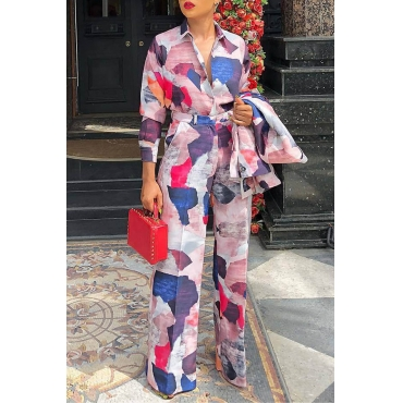 Lovely Casual Turndown Collar Printed Multicolor Two-piece Pants Set