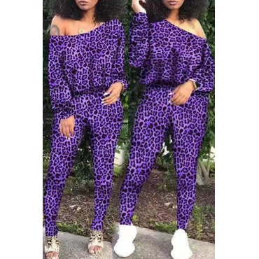 Lovely Casual Leopard Printed Purple Two-piece Pants Set
