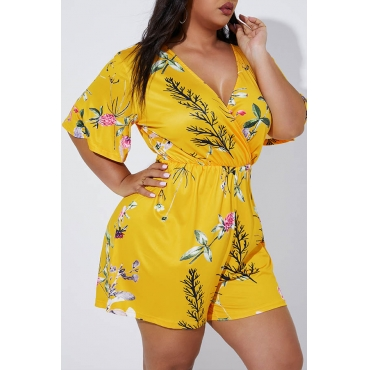 Lovely Casual V Neck Printed Yellow Plus Size One-piece Romper