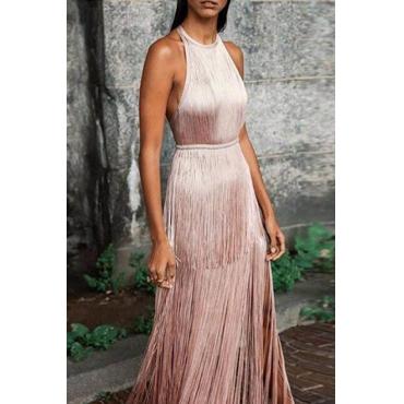 Lovely Party Halter Neck Tassel Design Pink Floor Length Evening Dress