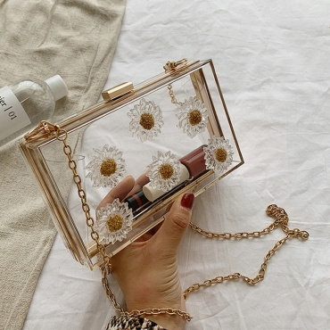 Lovely Trendy Floral Gold Messenger Bag