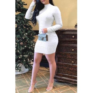 Lovely Sweet Half A turtleneck Nail Bead Design White Mini Dress