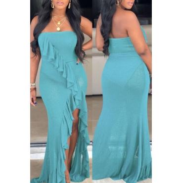 Lovely Casual Sleeveless Flounce Design Blue Floor Length Evening Dress