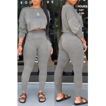 Lovely Casual Basic Grey Two-piece Pants Set
