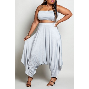Lovely Casual Loose Grey Plus Size Two-piece Pants Set