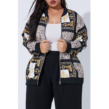 Lovely Trendy Printed Black Plus Size Coat