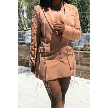 Lovely Casual Tassel Design Khaki Coat