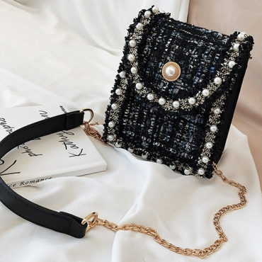 Lovely Trendy Nail Bead Design Black Messenger Bag