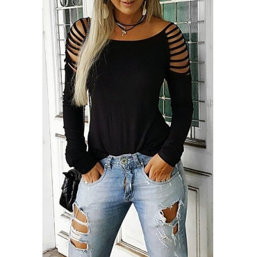 Lovely Chic Hollow-out Black T-shirt