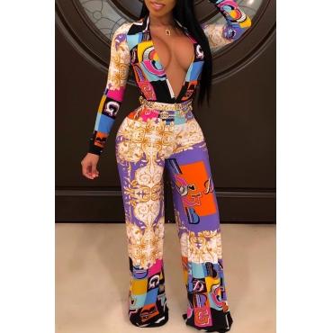 Lovely Trendy Deep V Neck Multicolor One-piece Jumpsuit