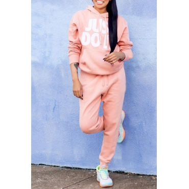 Lovely Casual Hooded Collar Letter Printed Light Pink Two-piece Pants Set