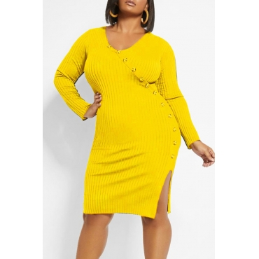 Lovely Casual Buttons Design Yellow Knee Length Plus Size Dress