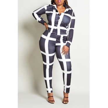 Lovely Casual Plaid Printed Black Plus Size Two-piece Pants Set