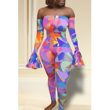 Lovely Casual Dew Shoulder Printed Blue One-piece Jumpsuit