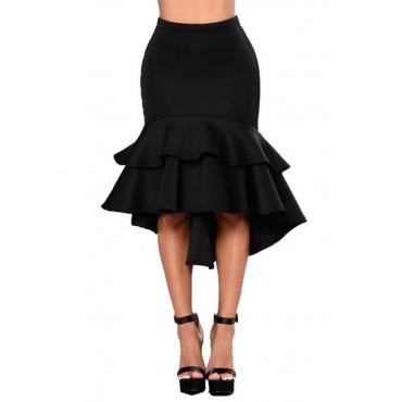 Lovely Trendy Flounce Design  Black Knee Length Skirt