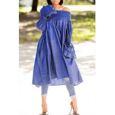 Lovely Casual Ruffle Design Blue Midi Dress