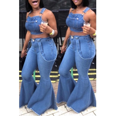 Lovely Casual Flared Blue Jeans(With Belt)