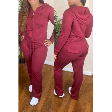 Lovely Casual Hooded Collar Pocket Patched Red Two-piece Pants Set