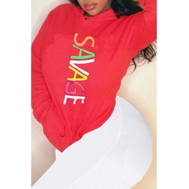 Lovely Casual Hooded Collar Letter Printed Red Hoodie