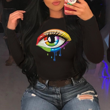 Lovely Casual Eye Printed Black T-shirt