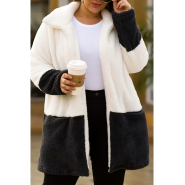Lovely Casual Turndown Collar Patchwork White Plus Size Coat
